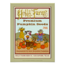 Holly Cow's Vintage Pumpkin Seed Package Poster