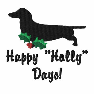 Holly Dachshund Embroidered Shirt (Long Sleeve)