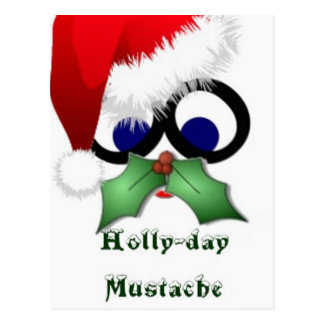 Holly-day Mustache Postcard