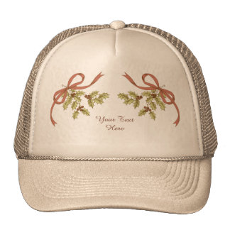 Holly-Day Sketch Holly Berries and Leaves Trucker Hat