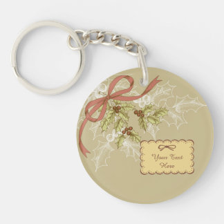 Holly-Day Sketch Holly Berries and Leaves Keychain