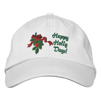 Holly Days Embroidered Hats
