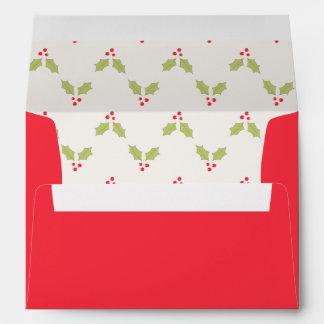 Holly Design Pre-Addressed Holiday Envelopes