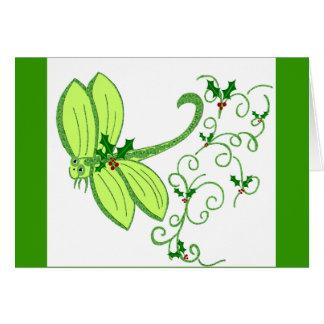 Holly dragonfly Christmas Card