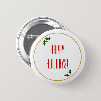 Holly Faux Gold Glitter Christmas Typography Button