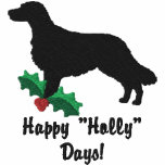 Holly Flat Coated Retriever Embroidered Embroidered Hooded Sweatshirt