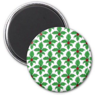 Holly Fleur de lis 2 Inch Round Magnet