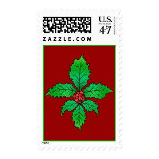 Holly Fleur de lis Custom Postage Stamps