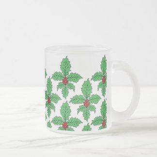 Holly Fleur de lis Frosted Glass Coffee Mug
