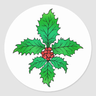 Holly Fleur de lis Stickers
