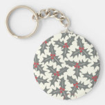 Holly Floral Pattern Key Chain
