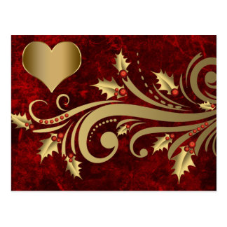 Holly florish and gold heart Card
