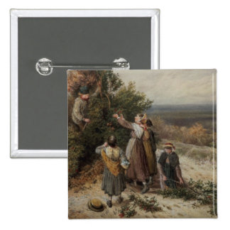Holly Gatherers (w/c and bodycolour) 2 Inch Square Button