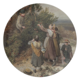 Holly Gatherers (w/c and bodycolour) Dinner Plate