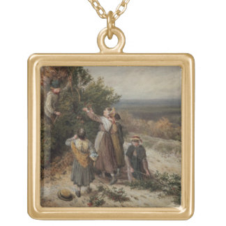 Holly Gatherers (w/c and bodycolour) Gold Plated Necklace