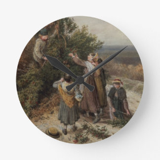 Holly Gatherers (w/c and bodycolour) Round Clock