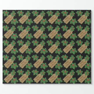 Holly Gift Tag Custom Text, Black Wrapping Paper