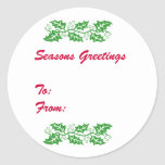 Holly Gift Tag Stickers