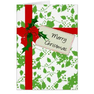 Holly Gift Wrap Christmas Card
