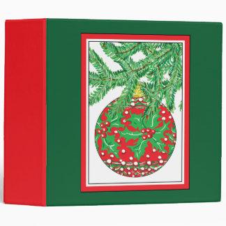 Holly Glass Ball Ornament on Christmas Tree Binders