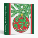 Holly Glass Ball Ornament on Christmas Tree Binders