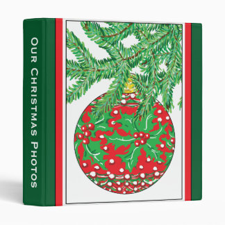Holly Glass Ball Ornament on Christmas Tree 3 Ring Binder