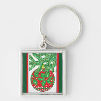 Holly Glass Ball Ornament on Christmas Tree Silver-Colored Square Keychain