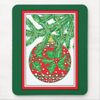 Holly Glass Ball Ornament on Christmas Tree Mouse Pad