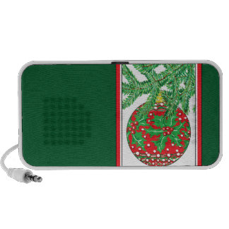 Holly Glass Ball Ornament on Christmas Tree Notebook Speakers