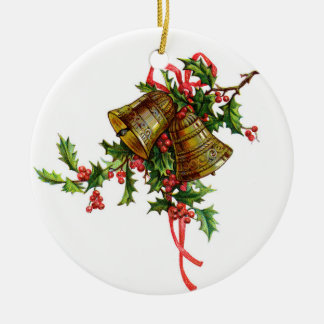 Holly/Gold Bells Christmas Ornament