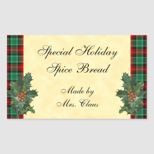 Holly Green Red Plaid Holiday Baking Sticker