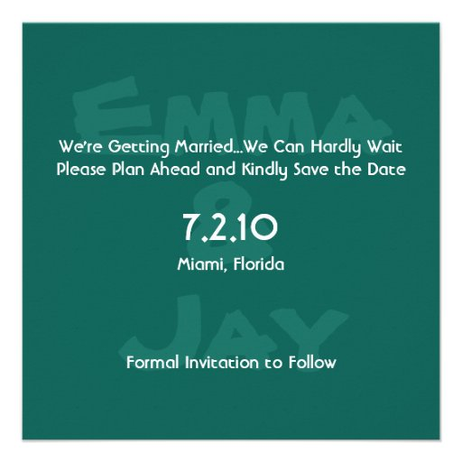 Holly Green Simply Color Save the Date Personalized Announcement