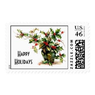 holly happy holidays stamp