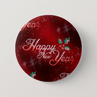 holly happy new year pinback button