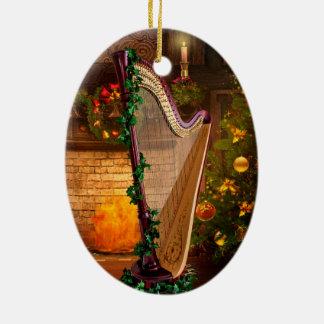 Holly Harp Christmas Ornament
