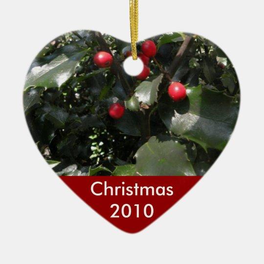 Holly Heart Photo Ornament
