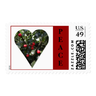 Holly Heart Postage Stamp