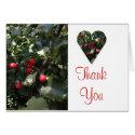 Holly Heart Thank You Card