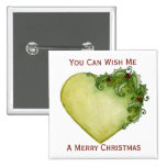 Holly Heart Trees Button