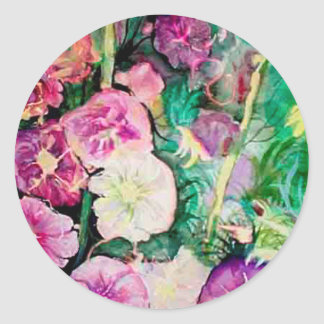Holly Hock Art watercolor Classic Round Sticker