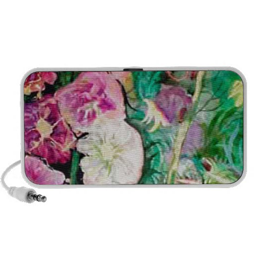 Holly Hock Art watercolor iPod Speakers