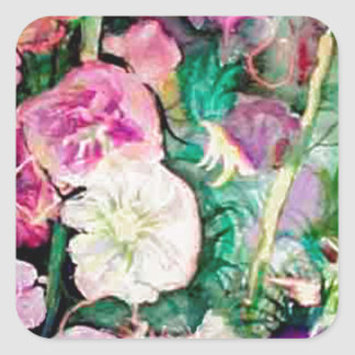 Holly Hock Art watercolor Square Sticker