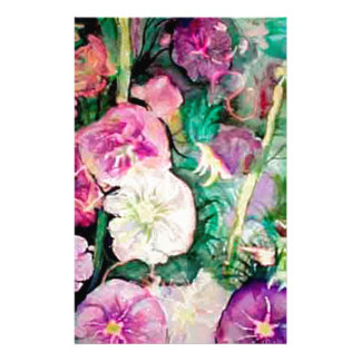 Holly Hock Art watercolor Stationery