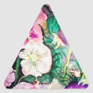 Holly Hock Art watercolor Triangle Sticker