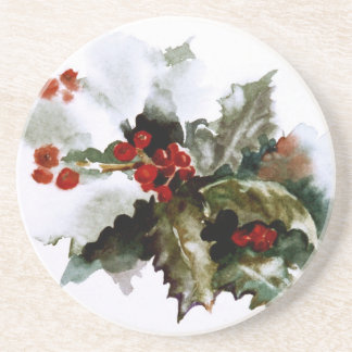 Holly Holiday Accessories Sandstone Coaster