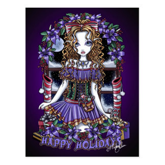 Holly Holiday Christmas Party Candy Angel Postcard