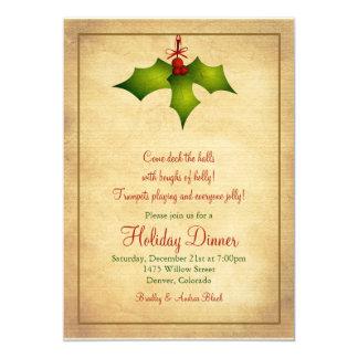 Holly Holiday Dinner Party Invitation