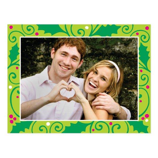 Holly Holiday Green & Pink Photo Postcard