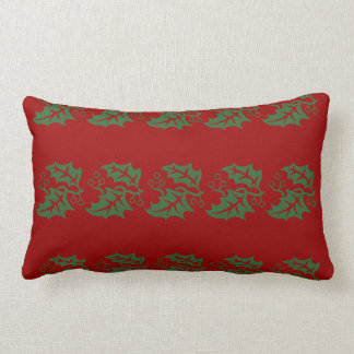 Holly Holiday Red and Green Lumbar Pillow