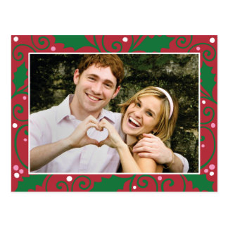 Holly Holiday Red and Green Photo Postcard